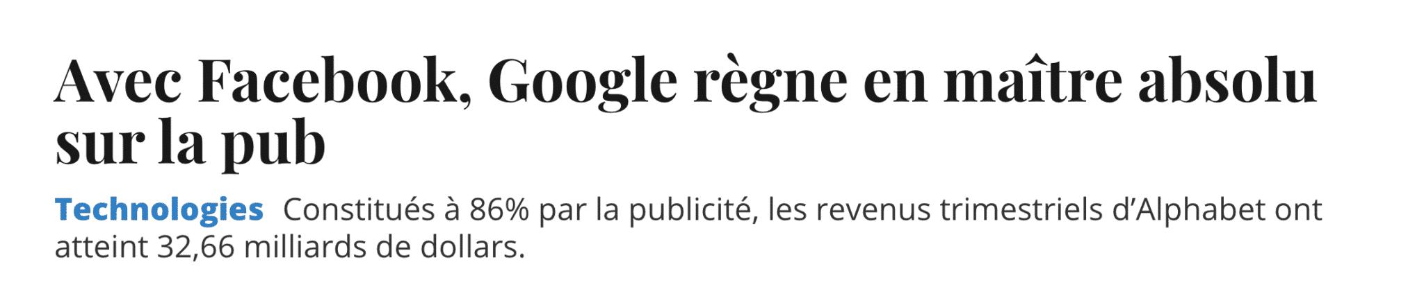 Google et Facebook pub