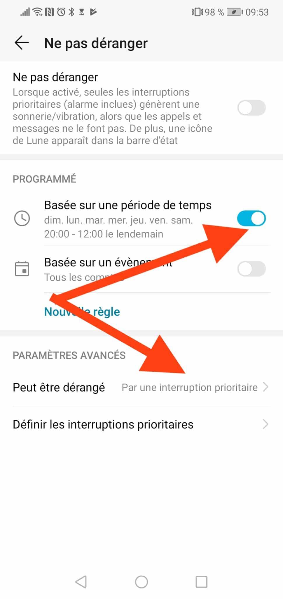 Android mode ne pas déranger