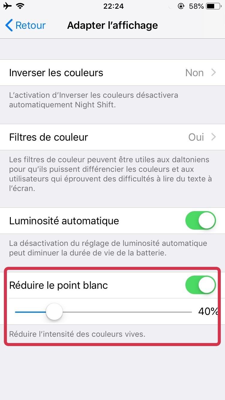 réduire couleur vive iPhone