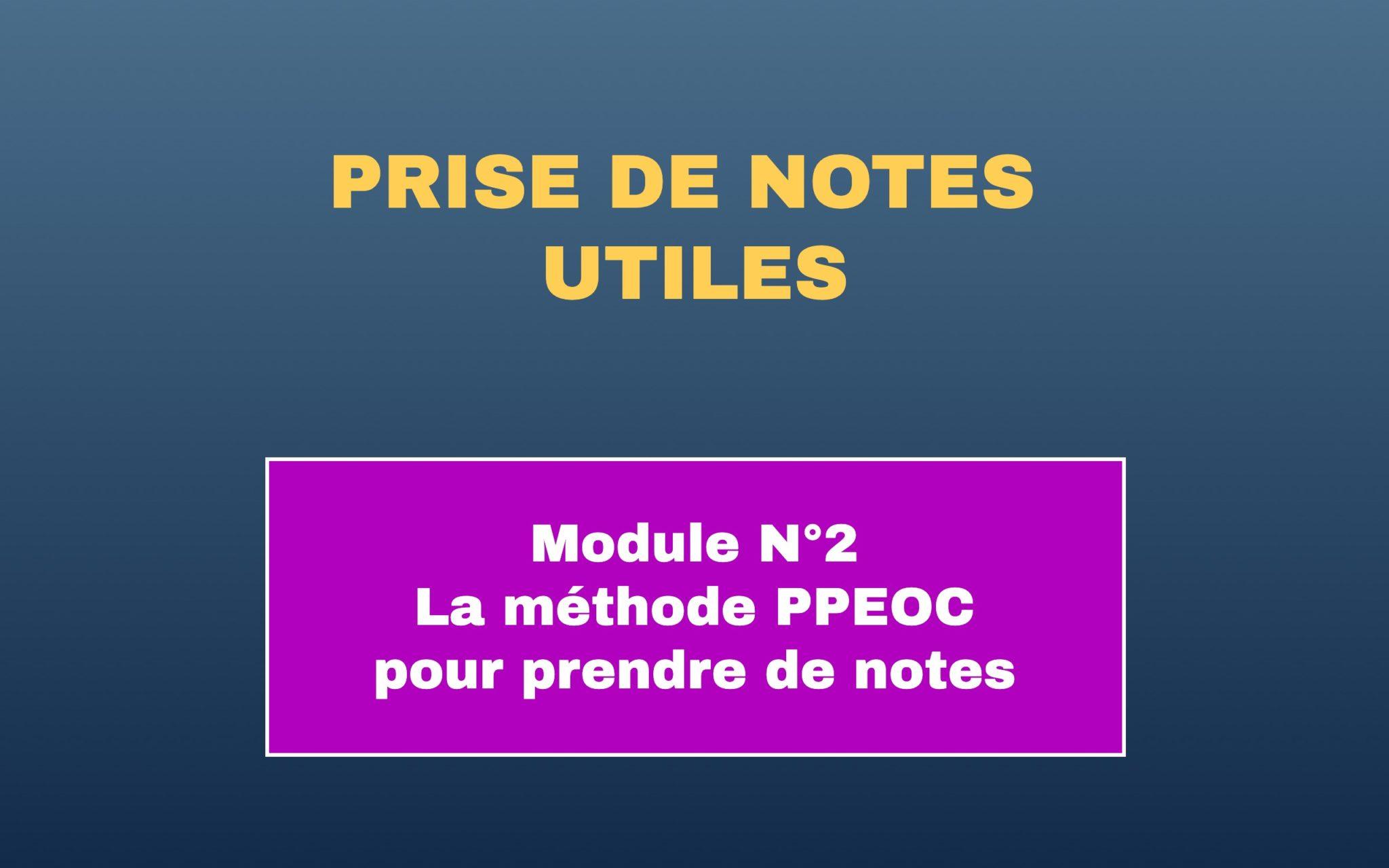Prise de notes utiles module 2