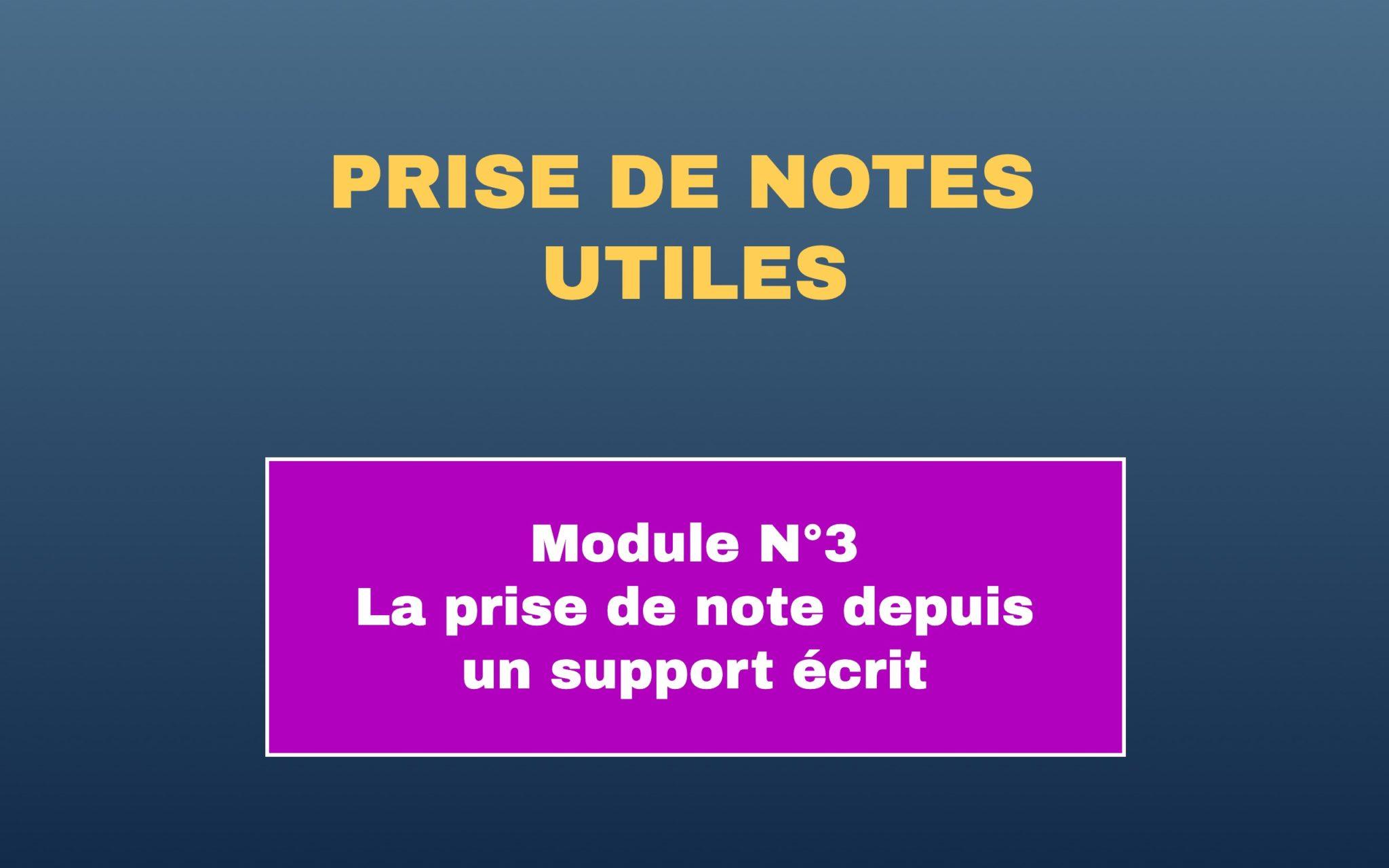 Prise de note module 3