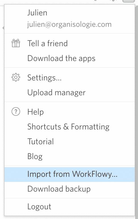 Importer workflowy dans dynalist
